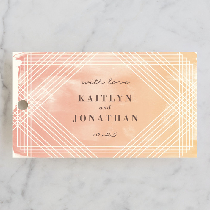 """Masked Wash"" - Wedding Favor Tags in Passion Fruit by Rebecca Bowen."