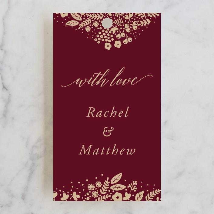 """Millefleur"" - Wedding Favor Tags in Burgundy by My Splendid Summer."