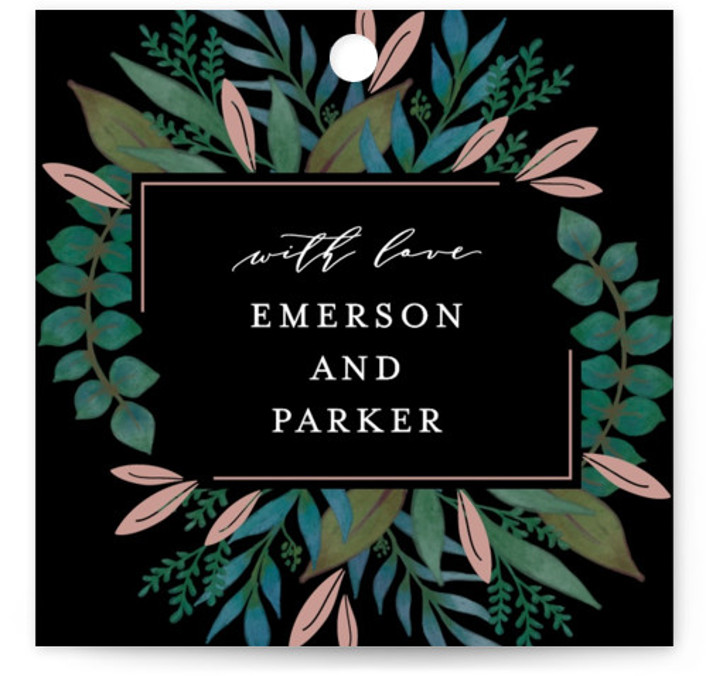 This is a black, rosegold Wedding Favor Tags by Lehan Veenker called Verdure with Standard printing on Signature in Tag Flat Card format. Add the perfect finishing touch to all of your wedding gifts with these chic and customizable gift ...