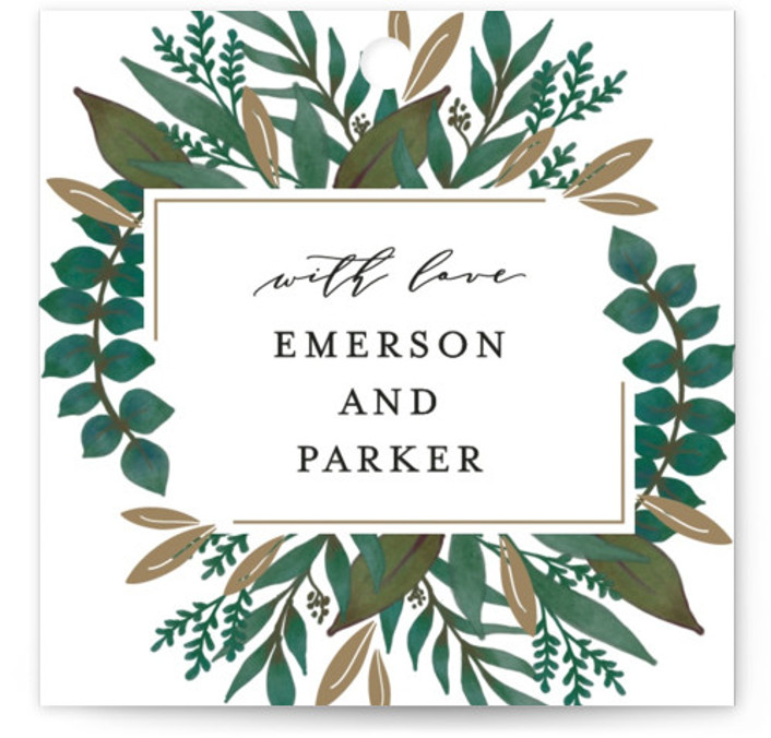 This is a gold, green Wedding Favor Tags by Lehan Veenker called Verdure with Standard printing on Signature in Tag Flat Card format. Add the perfect finishing touch to all of your wedding gifts with these chic and customizable gift ...