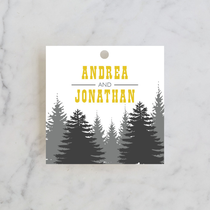 """Enchanted Forest"" - Rustic, Destination Wedding Favor Tags in Mustard by TwoBirds Paperie."