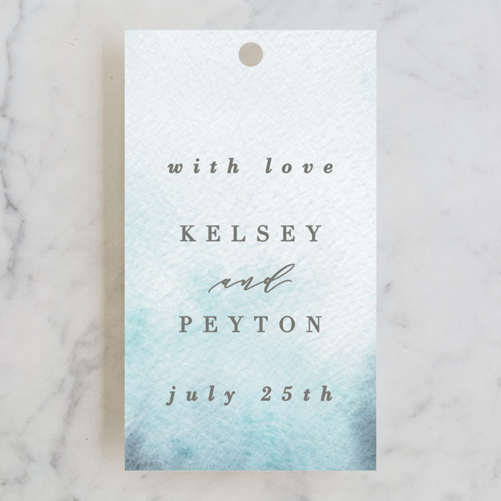 """""""Ethereal Wash"""" - Bohemian Wedding Favor Tags in Ocean by Everett Paper Goods."""