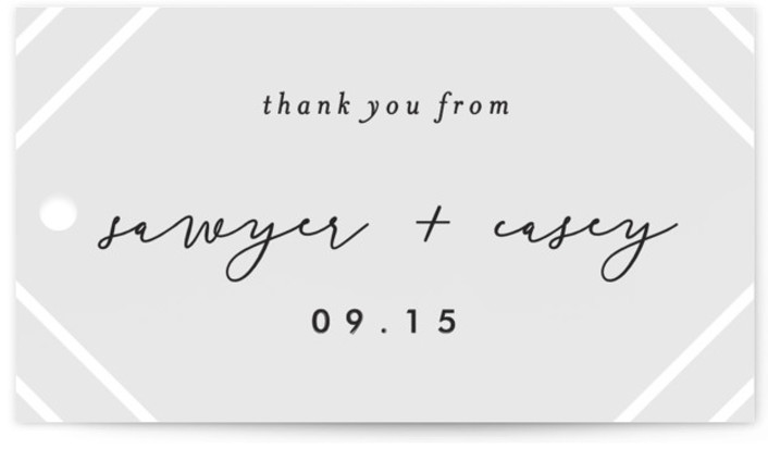 This is a grey, gold Wedding Favor Tags by carly reed walker called Monroe with Standard printing on Signature in Tag Flat Card format. Add the perfect finishing touch to all of your wedding gifts with these chic and customizable ...
