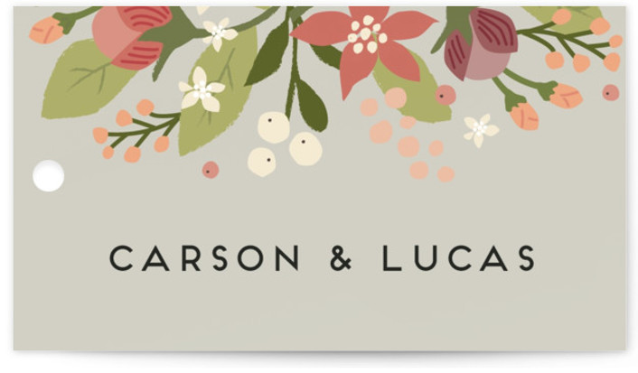 This is a landscape floral, vintage, grey Wedding Favor Tags by Jennifer Wick called Floral Ampersand with Standard printing on Signature in Tag Flat Card format. Add the perfect finishing touch to all of your wedding gifts with these chic ...