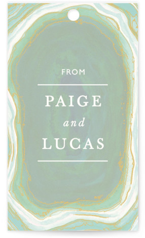 This is a portrait abstract, green Wedding Favor Tags by Kaydi Bishop called Gilt Agate with Standard printing on Signature in Tag Flat Card format. Add the perfect finishing touch to all of your wedding gifts with these chic and ...