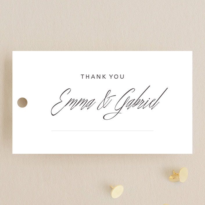 """Opulence"" - Formal, Elegant Wedding Favor Tags in Snow Caps by Design Lotus."