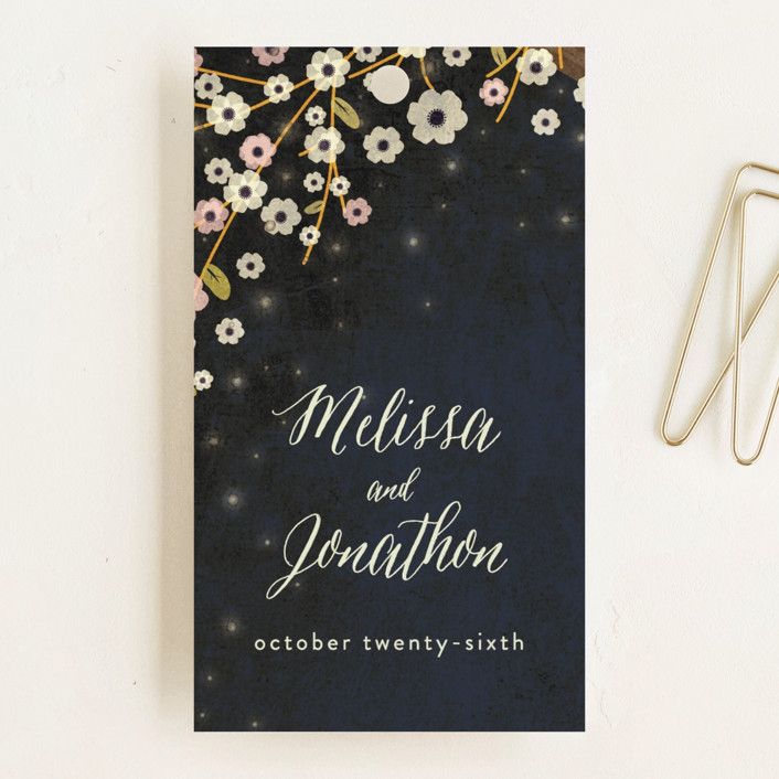 """Outside"" - Rustic Wedding Favor Tags in Navy by Rebecca Bowen."