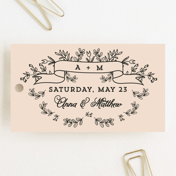 """""""Wedding Bouquet"""" - Monogrammed, Floral & Botanical Wedding Favor Tags in Petal by Chris Griffith."""