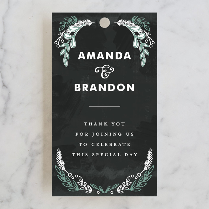 """""""Chalkboard"""" - Vintage, Floral & Botanical Wedding Favor Tags in Charcoal by Alethea and Ruth."""