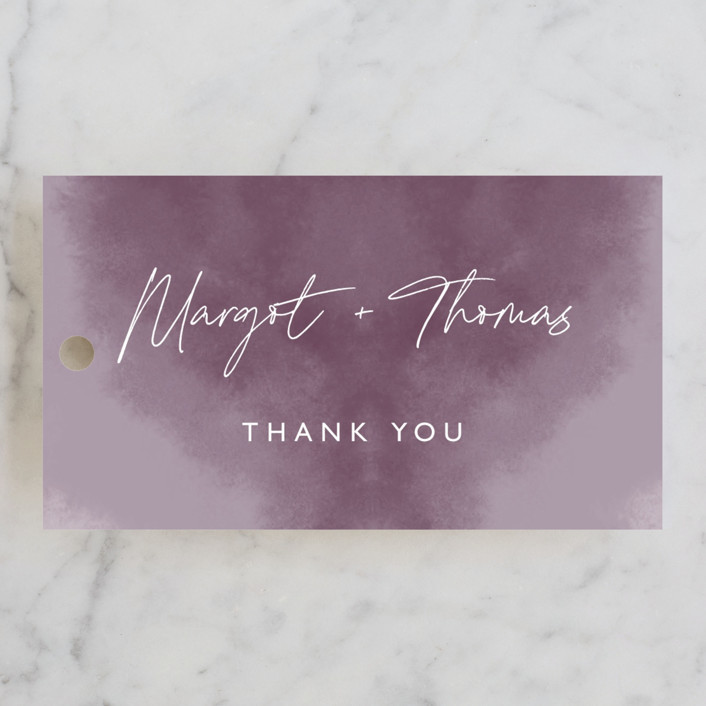 """""""Ethereal Names"""" - Wedding Favor Tags in Plum by Carolyn MacLaren."""