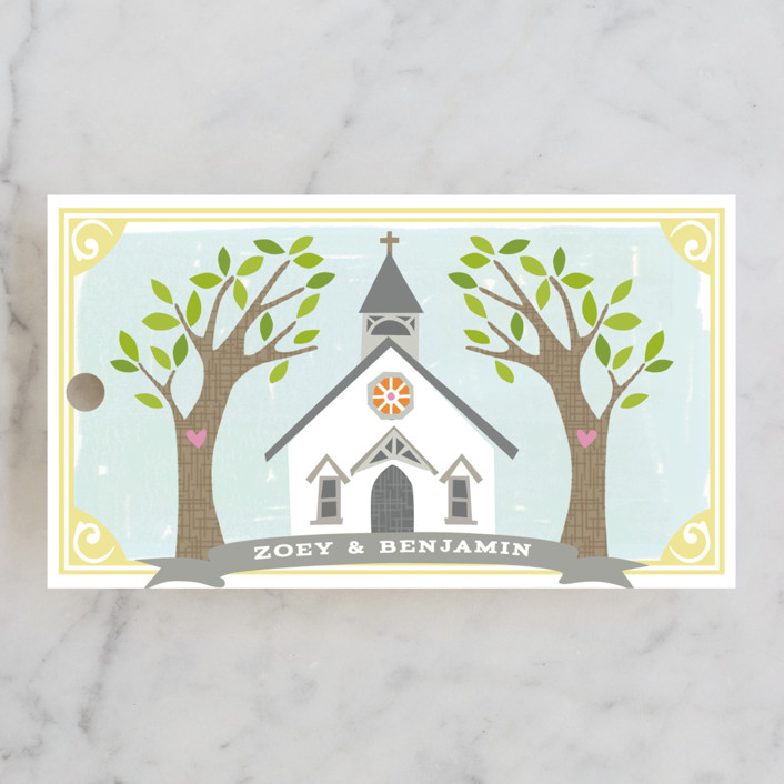 """""""Going to the Chapel"""" - Bold typographic, Whimsical & Funny Wedding Favor Tags in Spring by Griffinbell Paper Co.."""