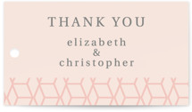 This is a pink wedding favor tag by Rosana Laiz Blursbyai called Geometric Pattern with standard printing on signature in tag.