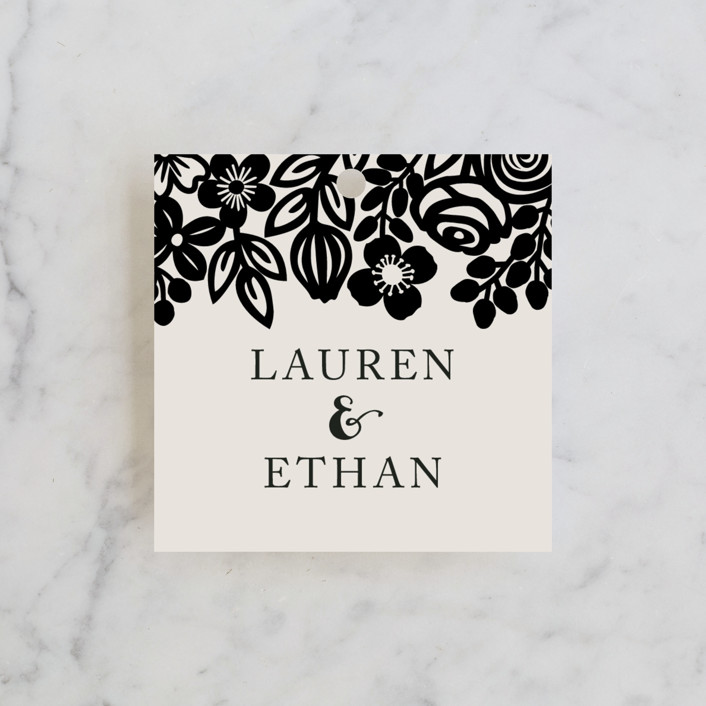"""""""Modern Floral Frame"""" - Wedding Favor Tags in Champagne by Faiths Designs."""