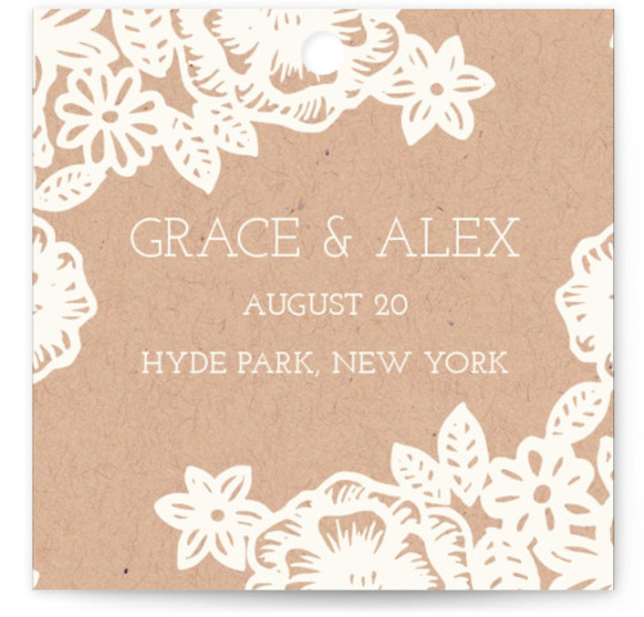 Lace And Kraft Wedding Favor Tags