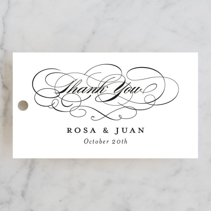 """Formal Ink"" - Classical, Formal Wedding Favor Tags in Black Tie by Jill Means."