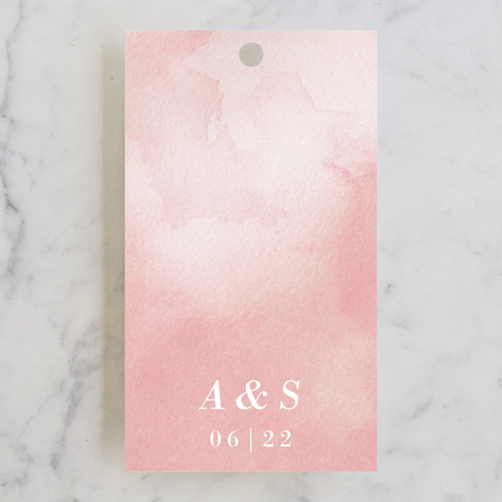 """Watercolor Frame"" - Wedding Favor Tags in Coral by Laura Condouris."