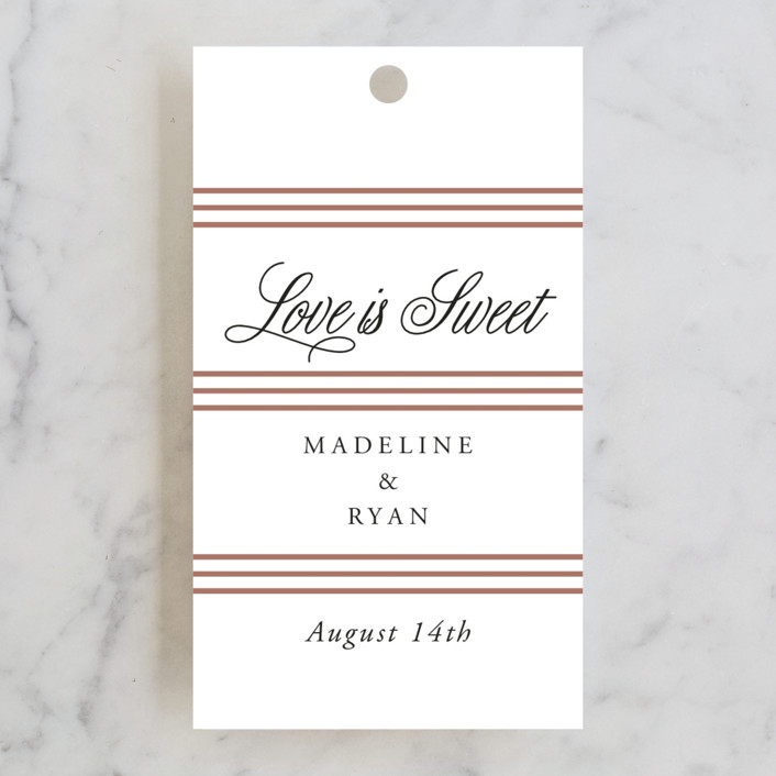 """Luxe Pinstripes"" - Wedding Favor Tags in Linen by Jill Means."