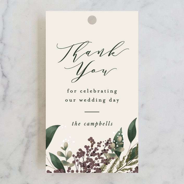 """""""Evergreen"""" - Wedding Favor Tags in Shamrock by Leah Bisch."""