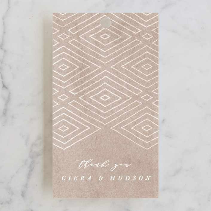 """Geometrica"" - Bohemian Wedding Favor Tags in Sand by Owl and Toad."