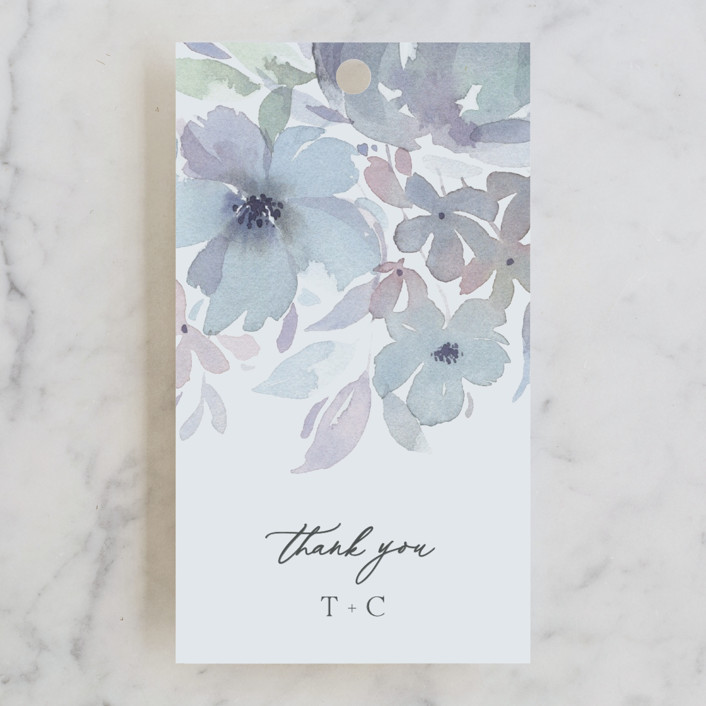 """""""Frosted Blossoms"""" - Wedding Favor Tags in Frost by Four Wet Feet Studio."""