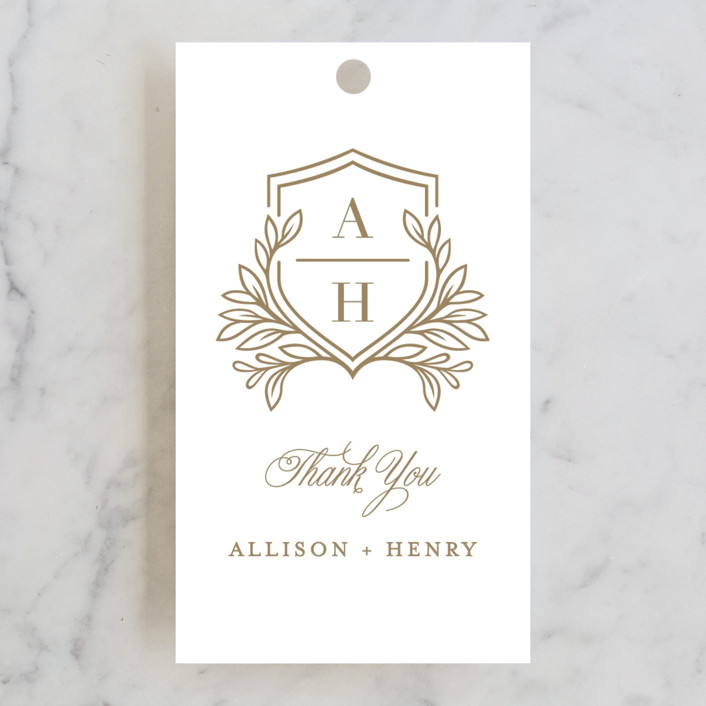 """Chic Monogram"" - Wedding Favor Tags in Porcelain by Mansi Verma."