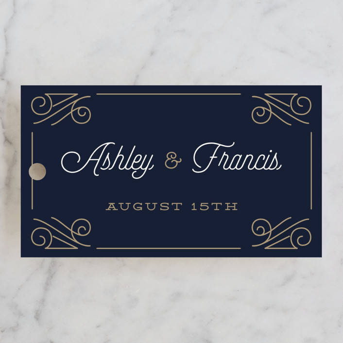 """Simply Timeless"" - Vintage Wedding Favor Tags in Midnight by Oma N. Ramkhelawan."