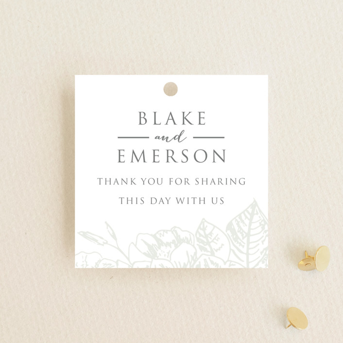 """Gilded Wildflowers"" - Wedding Favor Tags in Cloud by Smudge Design."