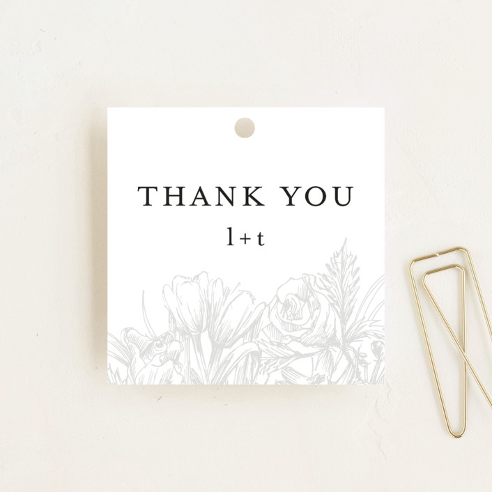"""""""Sketched Bouquet"""" - Wedding Favor Tags in Ivory by Phrosne Ras."""