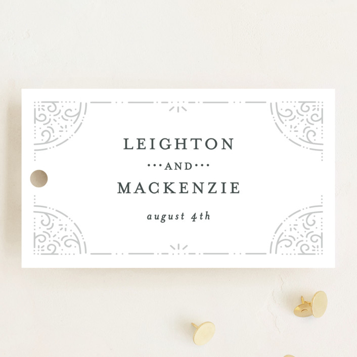 """""""Foil Frame"""" - Wedding Favor Tags in Cloud by Bethan."""