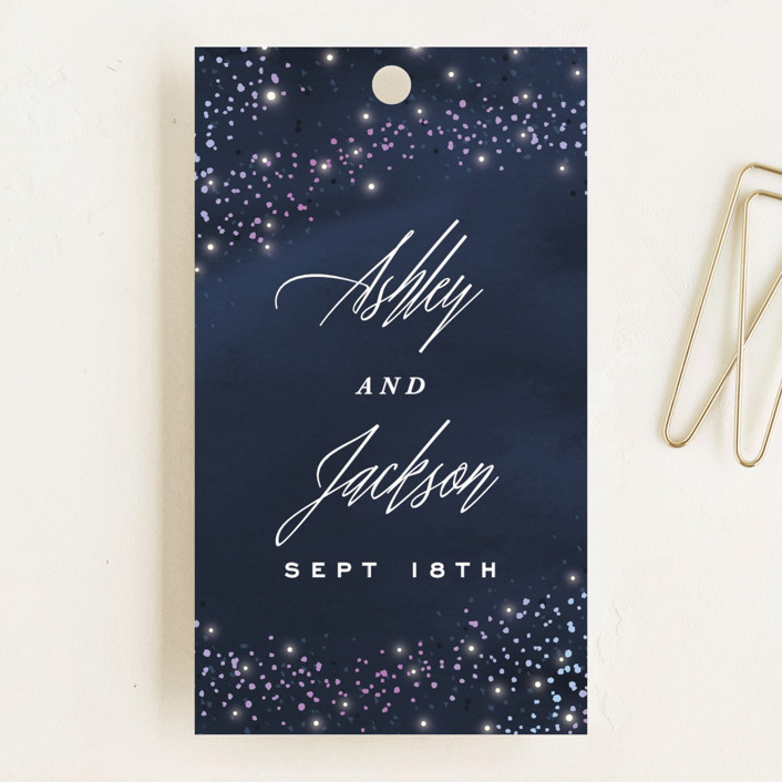 """""""Sparkling Night Sky"""" - Wedding Favor Tags in Midnight by Hooray Creative."""