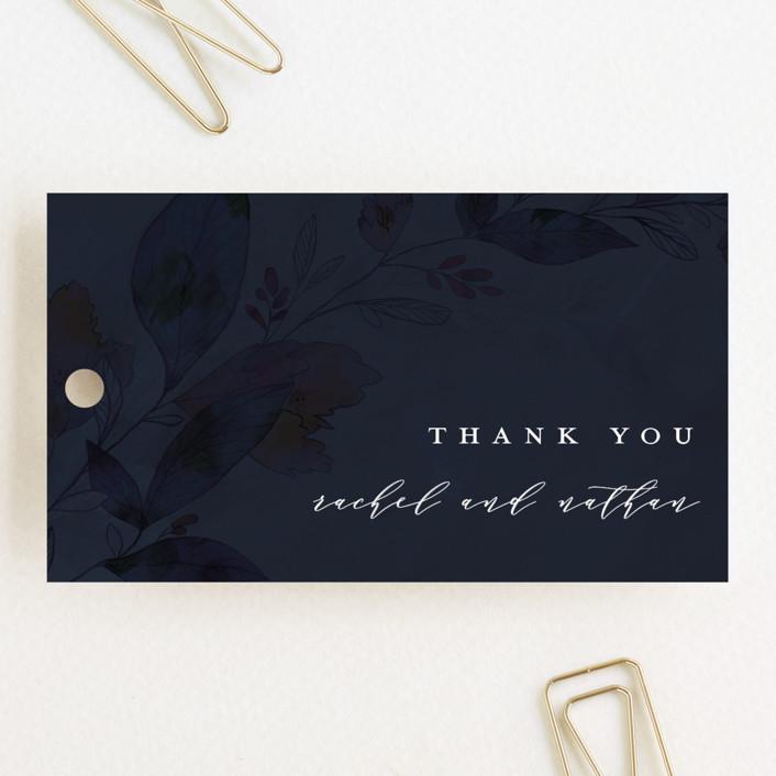 """Midnight Vines"" - Wedding Favor Tags in Navy by Grace Kreinbrink."