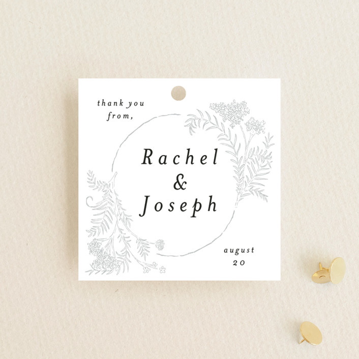 """""""Lacy Meadow Ovals"""" - Wedding Favor Tags in Gold Leaf by Shiny Penny Studio."""