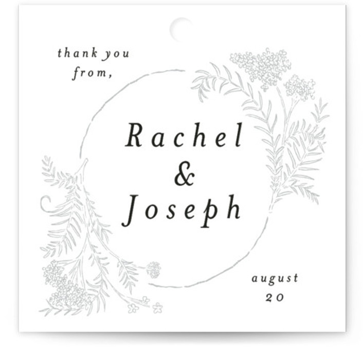 This is a black, yellow Wedding Favor Tags by Shiny Penny Studio called Lacy Meadow Ovals with Standard printing on Signature in Tag Flat Card format. Add the perfect finishing touch to all of your wedding gifts with these chic ...