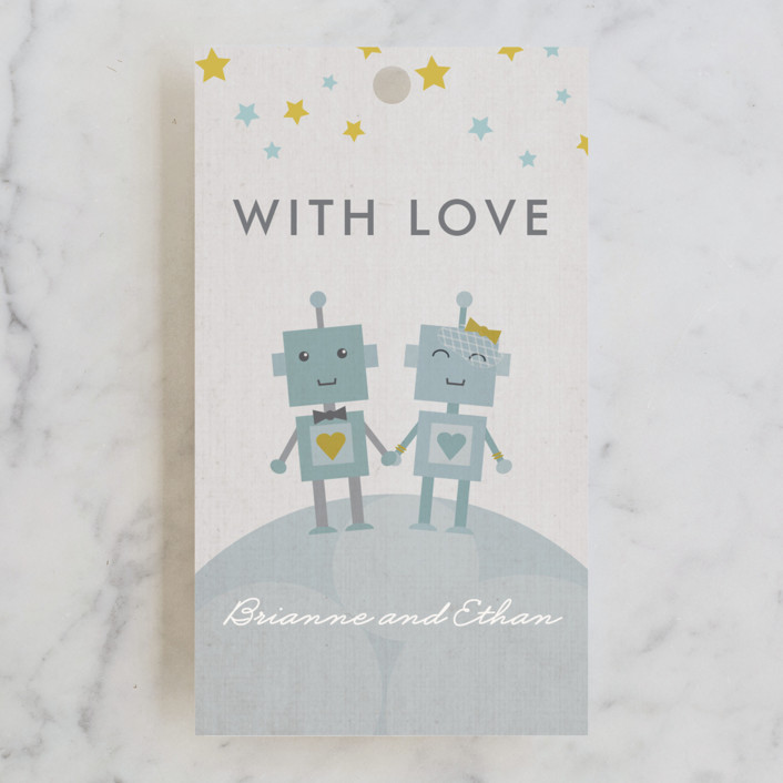 """Infinity & Beyond"" - Whimsical & Funny, Modern Wedding Favor Tags in Slate by Dawn Jasper."