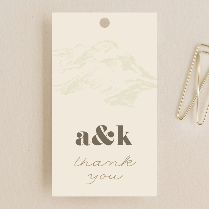 """Mountain Side Sketch"" - Wedding Favor Tags in Cream by Jessie Steury."