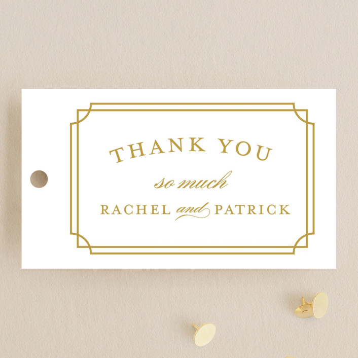 """""""Luxe Border"""" - Formal, Classical Wedding Favor Tags in Caramel by Sarah Brown."""