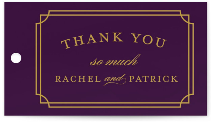 This is a landscape classical, formal, purple Wedding Favor Tags by Sarah Brown called Luxe Border with Standard printing on Signature in Tag Flat Card format. Add the perfect finishing touch to all of your wedding gifts with these chic ...