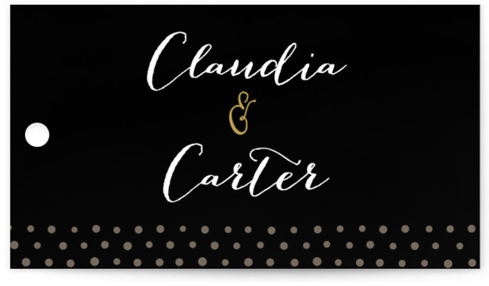 This is a landscape classical, elegant, black Wedding Favor Tags by Jennifer Wick called Milkglass Border with Standard printing on Signature in Tag Flat Card format. Add the perfect finishing touch to all of your wedding gifts with these chic ...