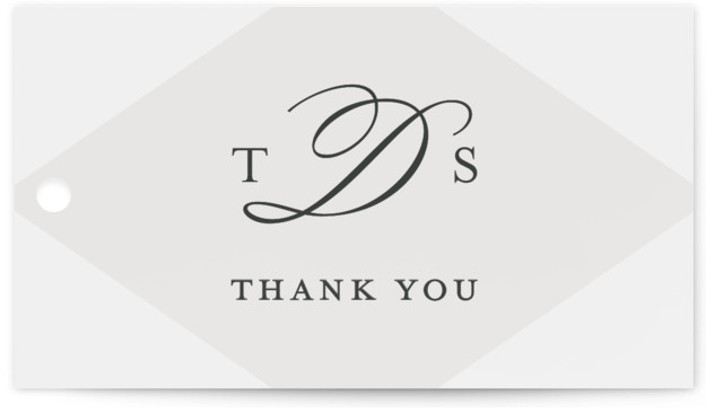 This is a landscape classical, elegant, formal, grey Wedding Favor Tags by Jill Means called Overlapping Triangles with Standard printing on Signature in Tag Flat Card format. Add the perfect finishing touch to all of your wedding gifts with these ...