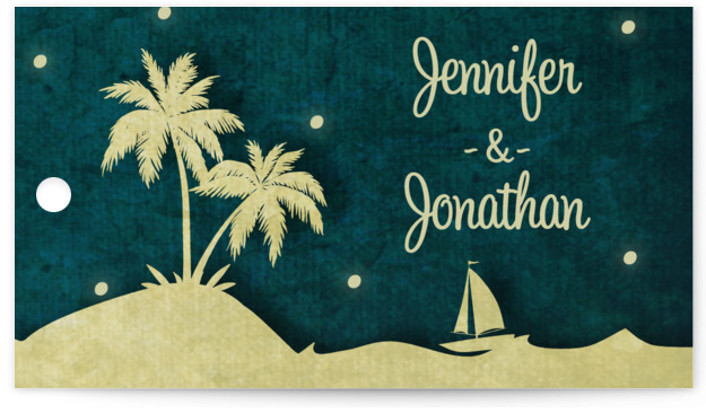 This is a landscape beach, destination, blue Wedding Favor Tags by Rebecca Bowen called Love Island with Standard printing on Signature in Tag Flat Card format. Add the perfect finishing touch to all of your wedding gifts with these chic ...