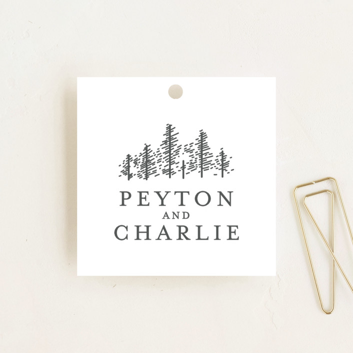 """Golden Pines"" - Wedding Favor Tags in Snow by Bethan."
