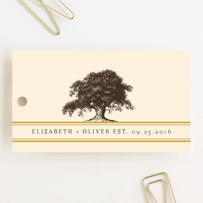 """Oak Tree"" - Floral & Botanical, Vintage Wedding Favor Tags in Butterscotch by annie clark."
