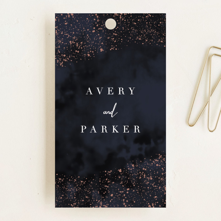 """glistening stardust"" - Wedding Favor Tags in Midnight by Angela Marzuki."
