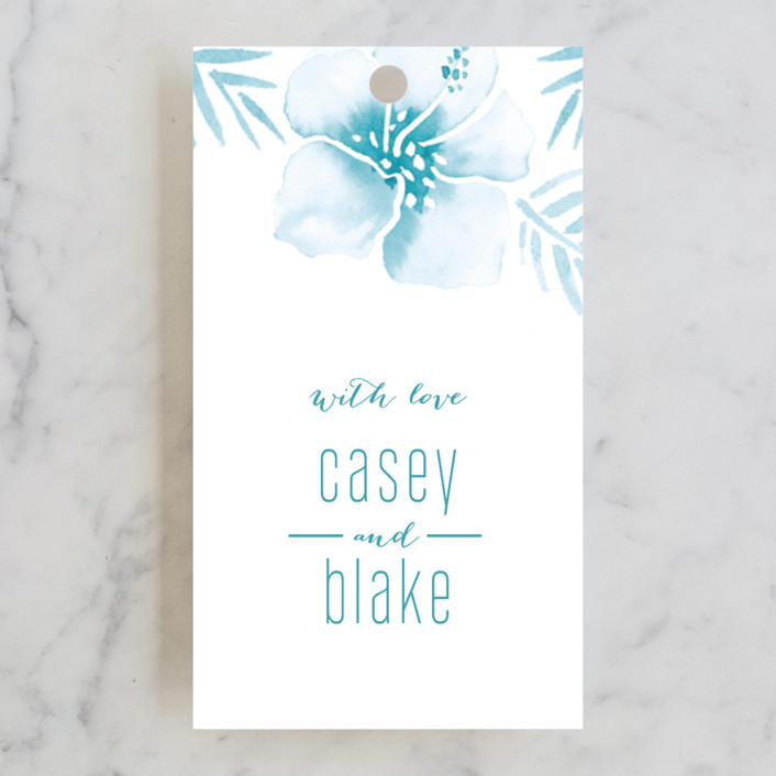 """Tropical Hibiscus"" - Wedding Favor Tags in La Mer by Smudge Design."