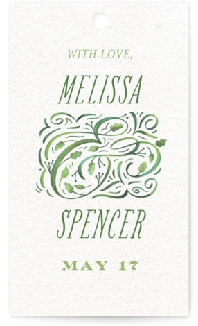 This is a green, white Wedding Favor Tags by Laura Bolter Design called Growing Ampersand with Standard printing on Signature in Tag Flat Card format. Add the perfect finishing touch to all of your wedding gifts with these chic and ...