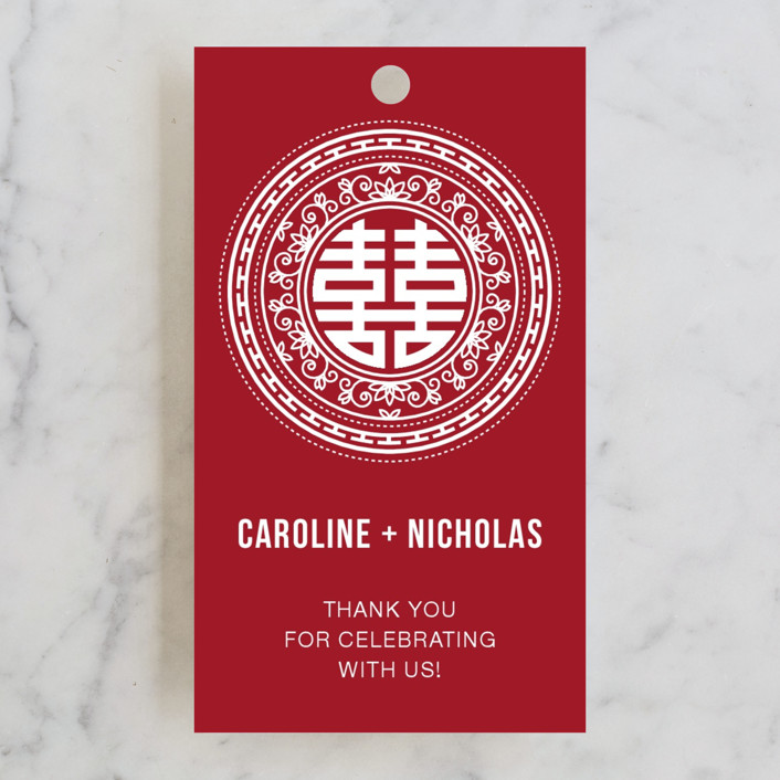 """Double Happiness Seal"" - Bold typographic Wedding Favor Tags in Carmine by Guess What Design Studio."