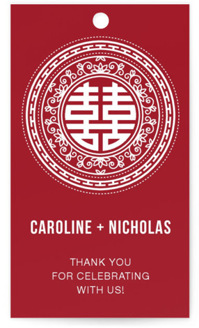 This is a portrait bold typographic, ethnic/cultural, red Wedding Favor Tags by Guess What Design Studio called Double Happiness Seal with Standard printing on Signature in Tag Flat Card format. Add the perfect finishing touch to all of your wedding ...