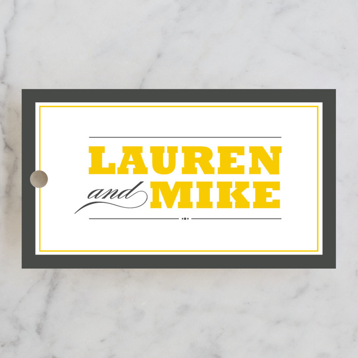 """""""Cocktail Hour"""" - Modern, Simple Wedding Favor Tags in Corn Yellow by Ariel Rutland."""