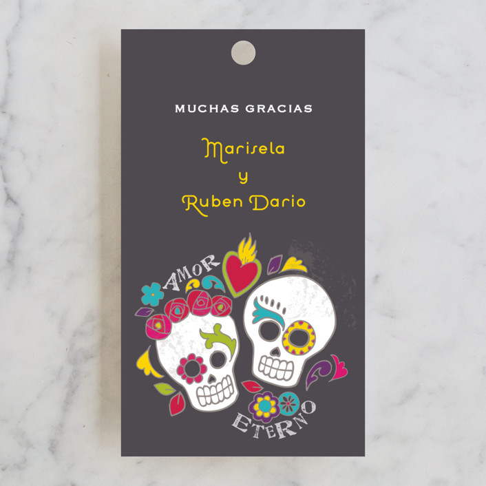"""Dia de los Muertos"" - Whimsical & Funny Wedding Favor Tags in Slate by Inky Livie."