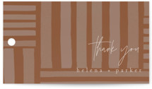 This is a brown wedding favor tag by Grace Kreinbrink called Fall Flurry with standard printing on signature in tag.